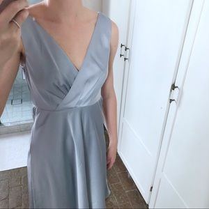 J. Crew silver silky dress